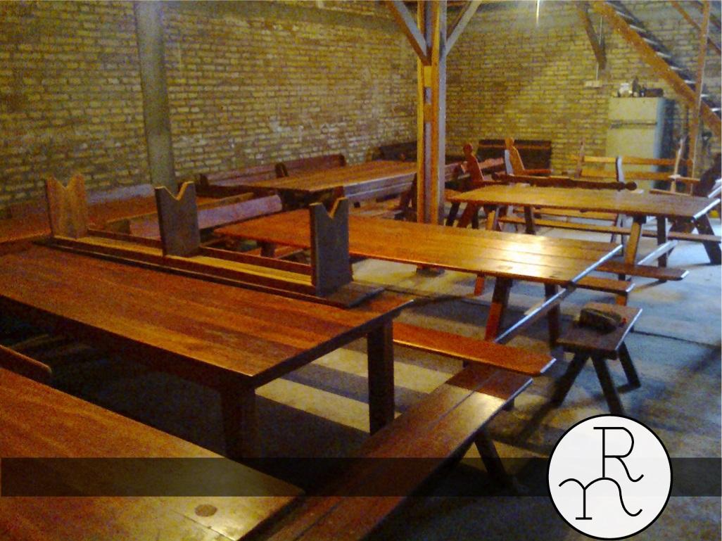Bancos y mesas madera para exterior rinc n del norte - Mesas para exterior de madera ...